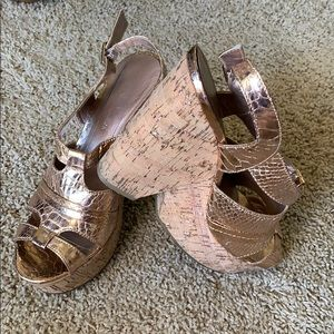 BCBG Generation Copper and Cork Wedge.
